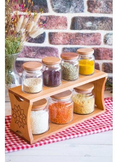 Joy Kitchen  Ahşap Hitit 7'Li Kavanoz Seti -Motifli 3O4K Renkli